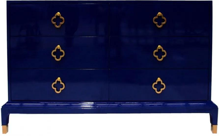 Bufet inferior albastru din lemn de molid 130 cm Denzzo