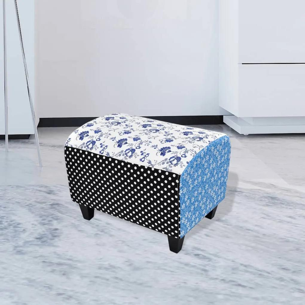 240880 vidaXL Taburet patchwork rustic cu motive florale, albastru și alb