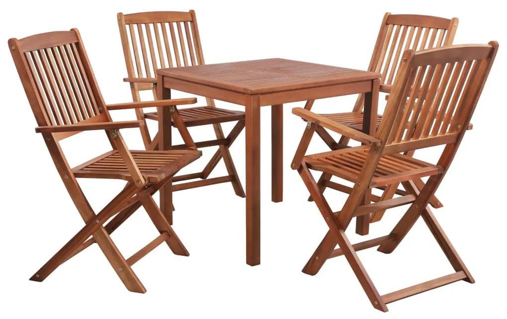 44018 vidaXL Set mobilier de exterior, 5 piese, lemn masiv de acacia