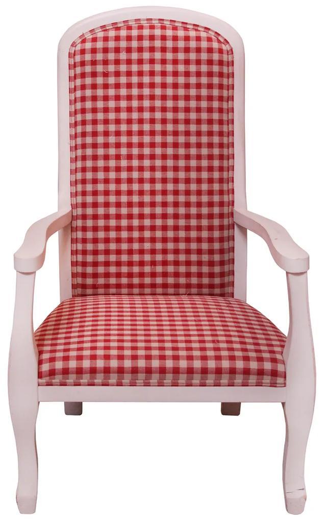 Fotoliu pentru copii Castle din lemn alb cu tapiterie rosie 42x37x75 cm