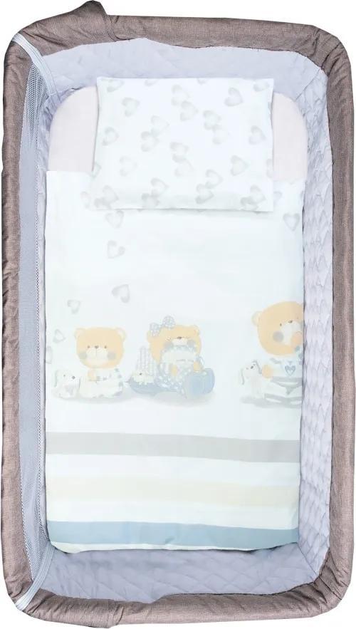 Set de pat pentru bebelusi Teddy with hearts 5 piese