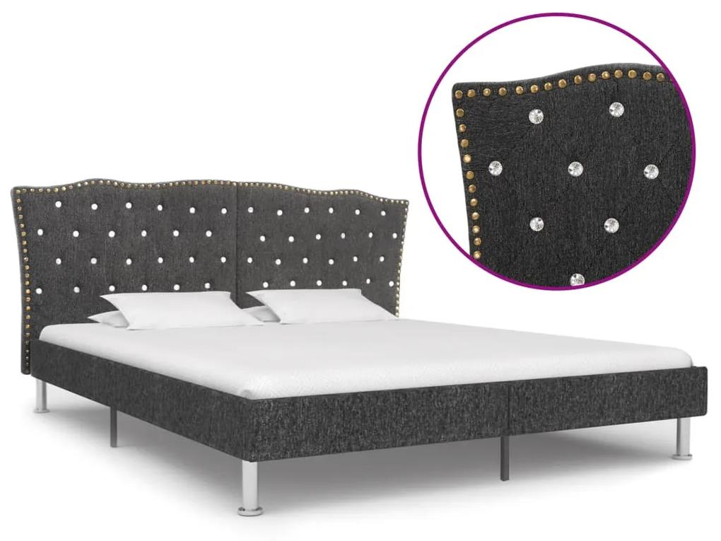 280530 vidaXL Cadru pat, gri închis, 160 x 200 cm, material textil