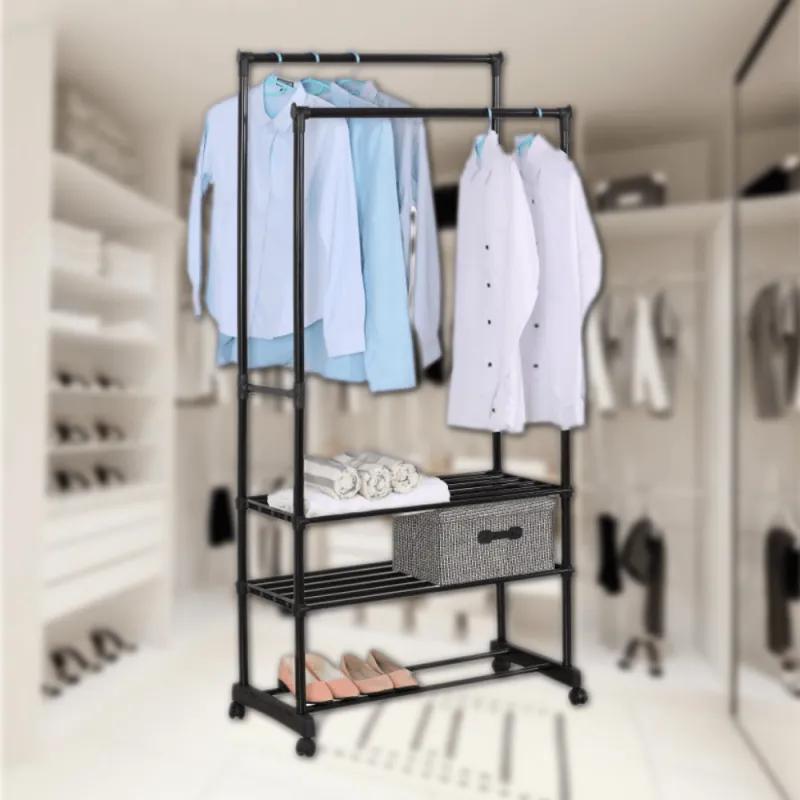 Suport mobil pentru haine din metal, 78 x 39 x 165 cm