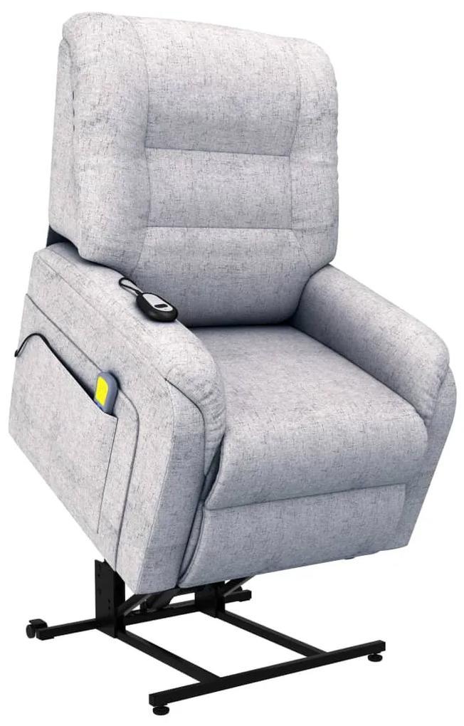 249925 vidaXL Fotoliu de masaj rabatabil electric, gri deschis, textil