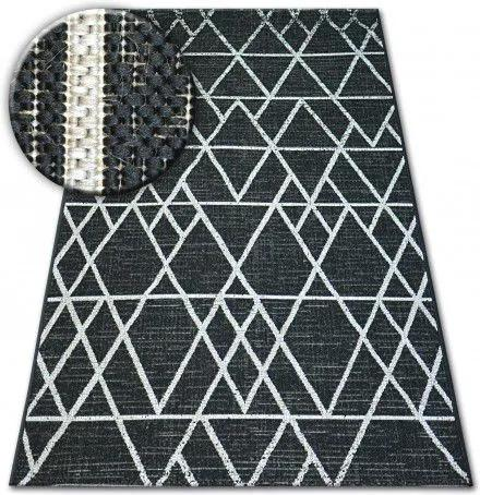 Covor sisal Floorlux 20508 negru si argint Triunghiuri 60x110 cm