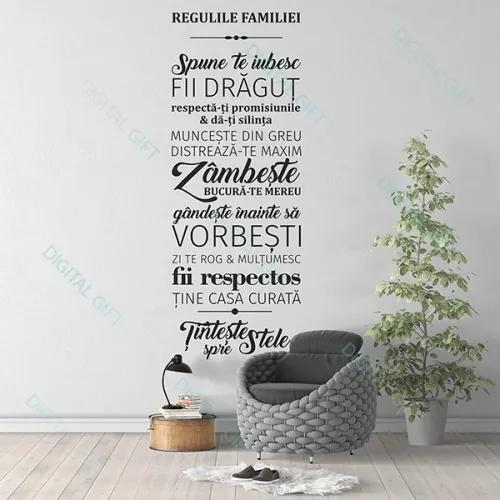 Sticker pentru perete - Regulile familiei 56x150 cm