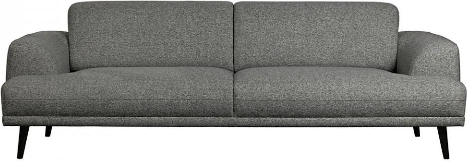 Canapea gri/neagra din poliester si lemn pentru 3 persoane Brush