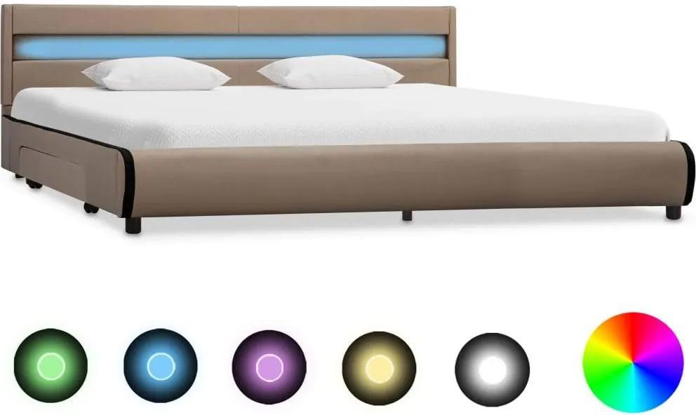 Cadru de pat cu LED, cappuccino, 180 x 200 cm, piele ecologica
