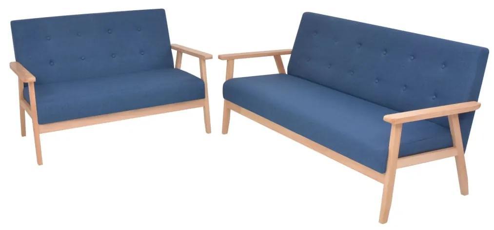 274914 vidaXL Set cu canapele, 2 piese, material textil, albastru