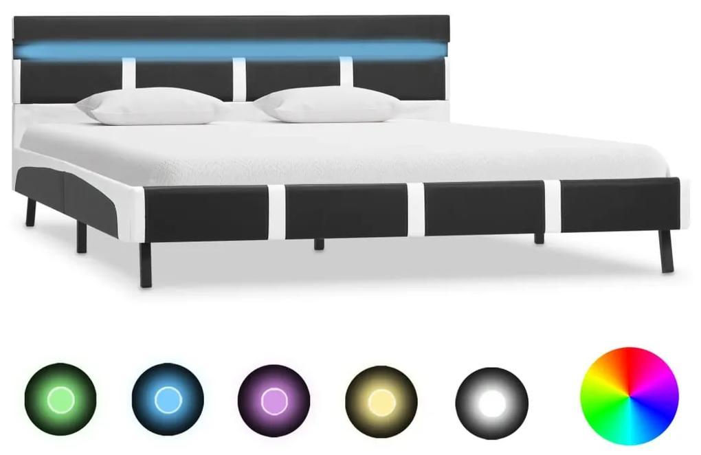 280310 vidaXL Cadru de pat cu LED, gri, 160 x 200 cm, piele ecologică