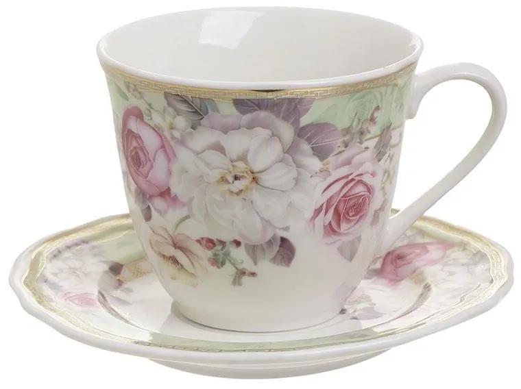 Set servire ceai din portelan Flowers 200 ml
