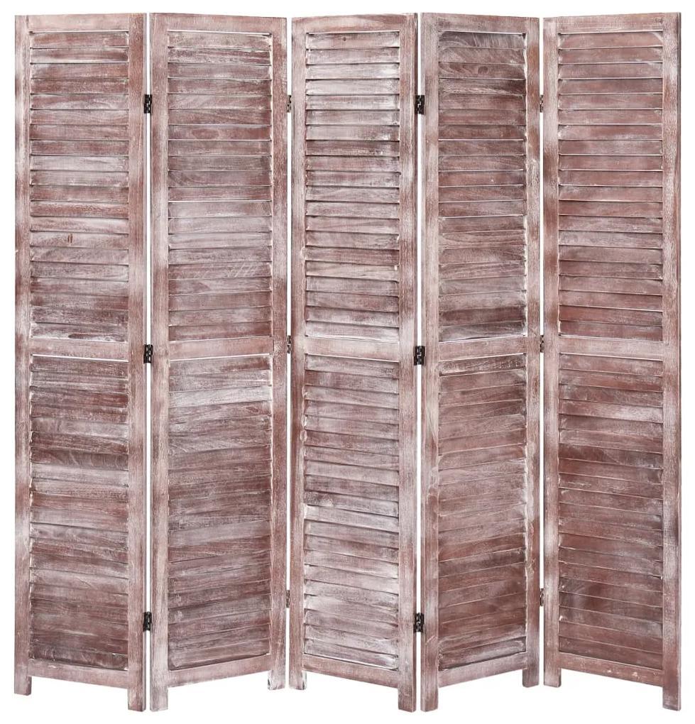 284213 vidaXL Paravan de cameră cu 5 panouri, maro, 175 x165 cm, lemn