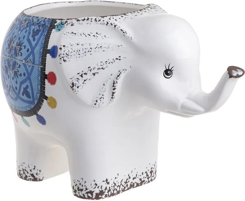 Elly Suport ghiveci elefant, Ceramica, Alb