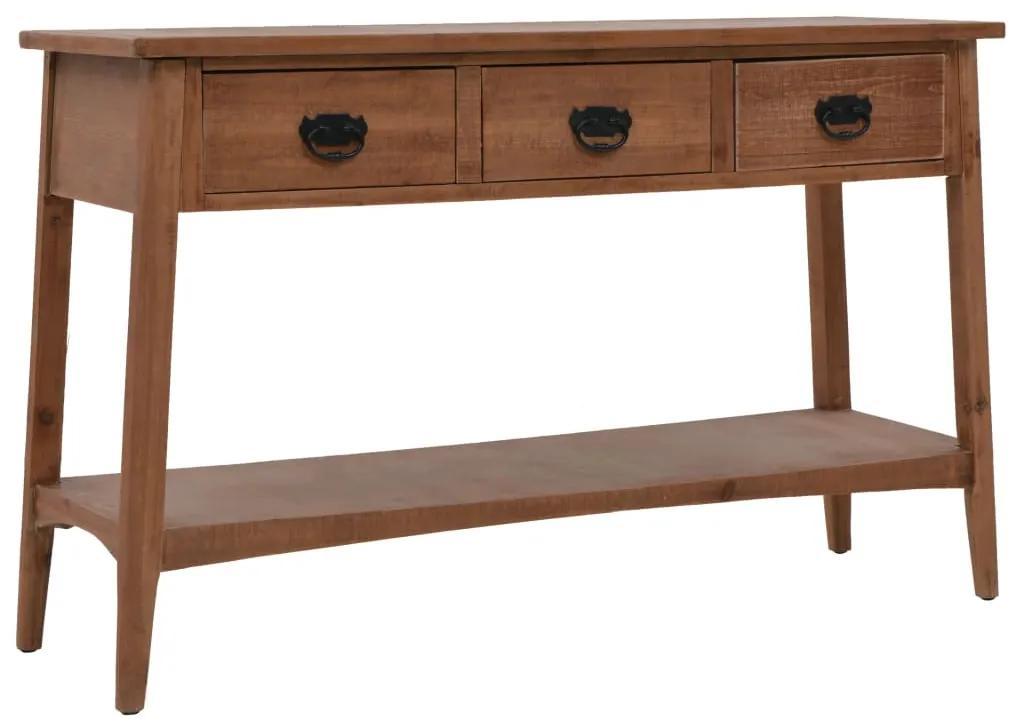 246122 vidaXL Masă consolă, maro, 126 x 40 x 77,5 cm, lemn masiv de brad