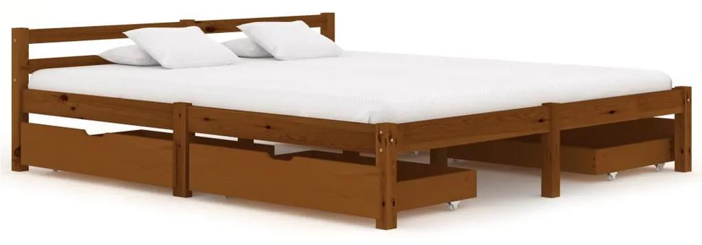 3060526 vidaXL Cadru de pat cu 4 sertare maro miere 160x200 cm lemn masiv pin