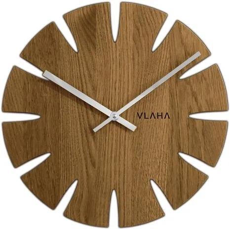 Ceas de perete Vlaha VCT1014, din stejar,  diam. 32,5 cm, argintiu