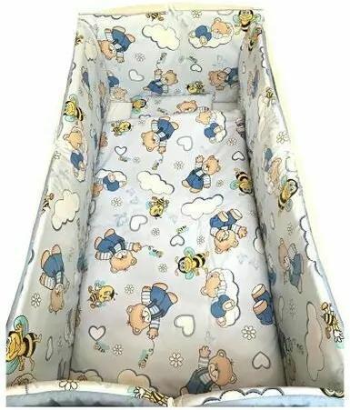 Deseda - Lenjerie de pat bebelusi cu aparatori laterale pufoase  ursi cu albine pe albastru