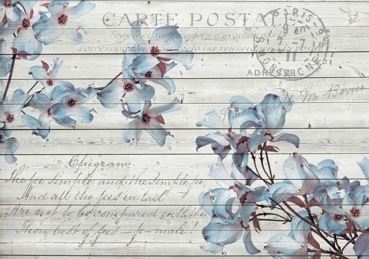 Flowers Wood Pattern Vintage Fototapet, (250 x 104 cm)
