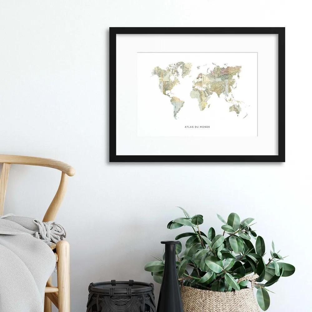 Imagine în cadru - Map Countries: Atlas du Monde 40x30 cm