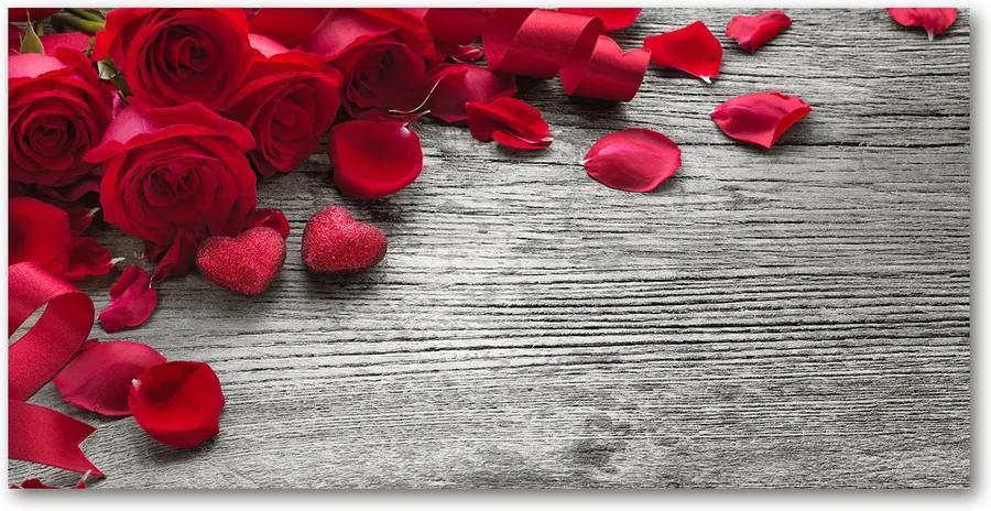 Tablou pe sticlă acrilică Trandafiri rosii
