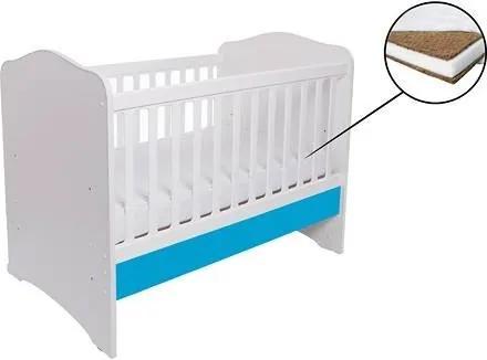 Patut Pentru Copii Como fara Sertar - Alb cu Albastru + Saltea Cocos 10 cm