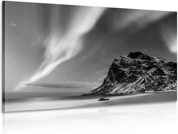 Tablou aurora polară în Norvegia în design alb-negru