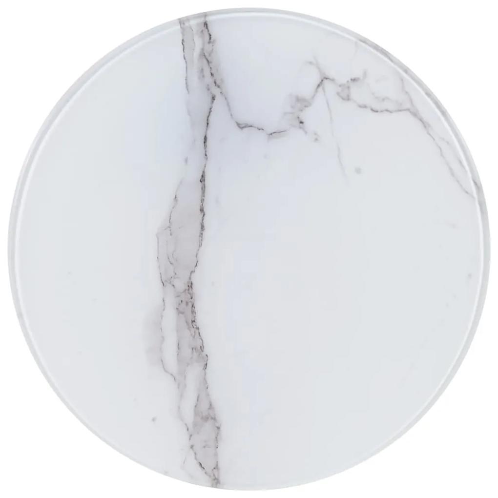 285179 vidaXL Blat de masă, alb, Ø40 cm, sticlă cu textură de marmură