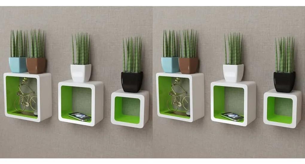 275985 vidaXL Rafturi cub de perete, 6 buc., alb și verde