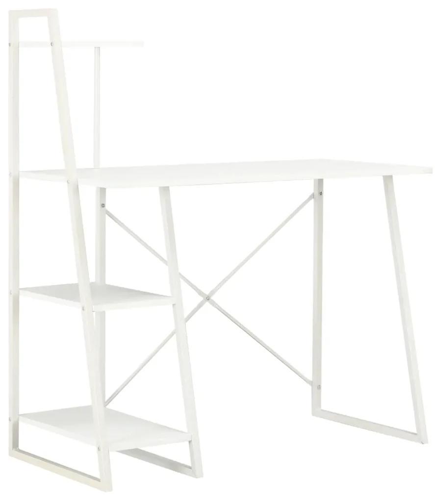 20282 vidaXL Birou cu rafturi, alb, 102 x 50 x 117 cm