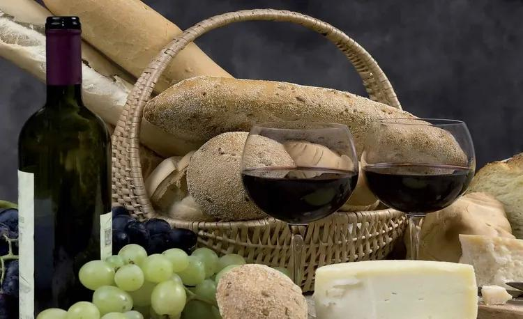 Wine And Bread Fototapet, (152.5 x 104 cm)