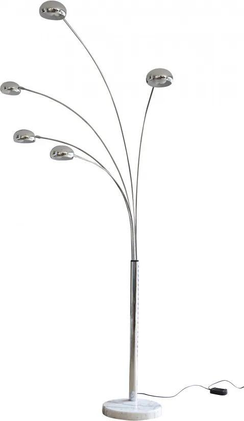 Lampadar din metal cromat/marmura THIS & THAT 220 cm argintiu, 5 becuri