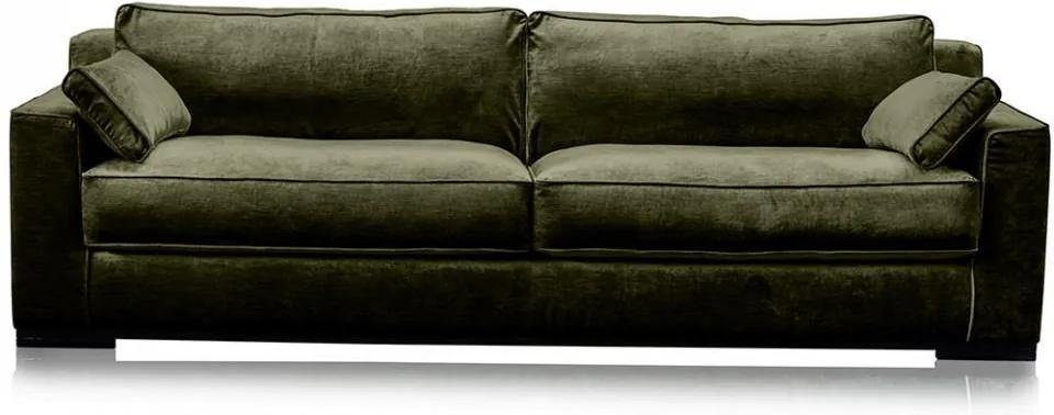 Canapea verde padure din viscoza si lemn pentru 4 persoane Metro