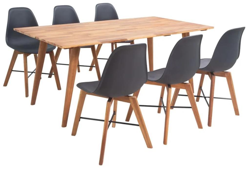 274754 vidaXL Set mobilier de bucătărie, 7 piese, negru