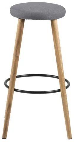 Scaun de bar tapitat cu stofa si picioare din lemn Hector Gri / Stejar, Ø41xH77 cm