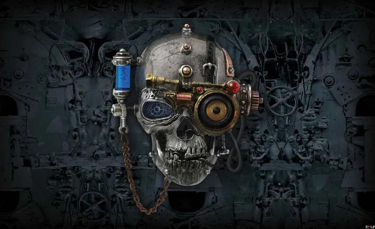 Alchemy Art Necronaut Skull Fototapet, (312 x 219 cm)