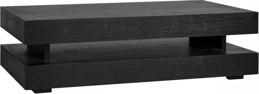 Masuta de cafea dreptunghiulara din stejar cu spatiu de depozitare Oakura 43x150x80 cm neagra