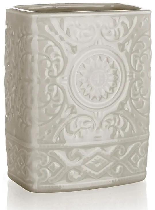 Pahar pentru periuţe de dinţi din ceramică, gri-bej