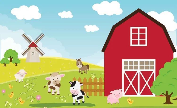 Farm Cartoon Boys Bedroom Fototapet, (104 x 70.5 cm)