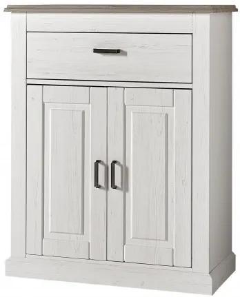 Cabinet hol din MDF si pal, cu 2 usi si 1 sertar, Victory Alb, l89xA42xH112 cm