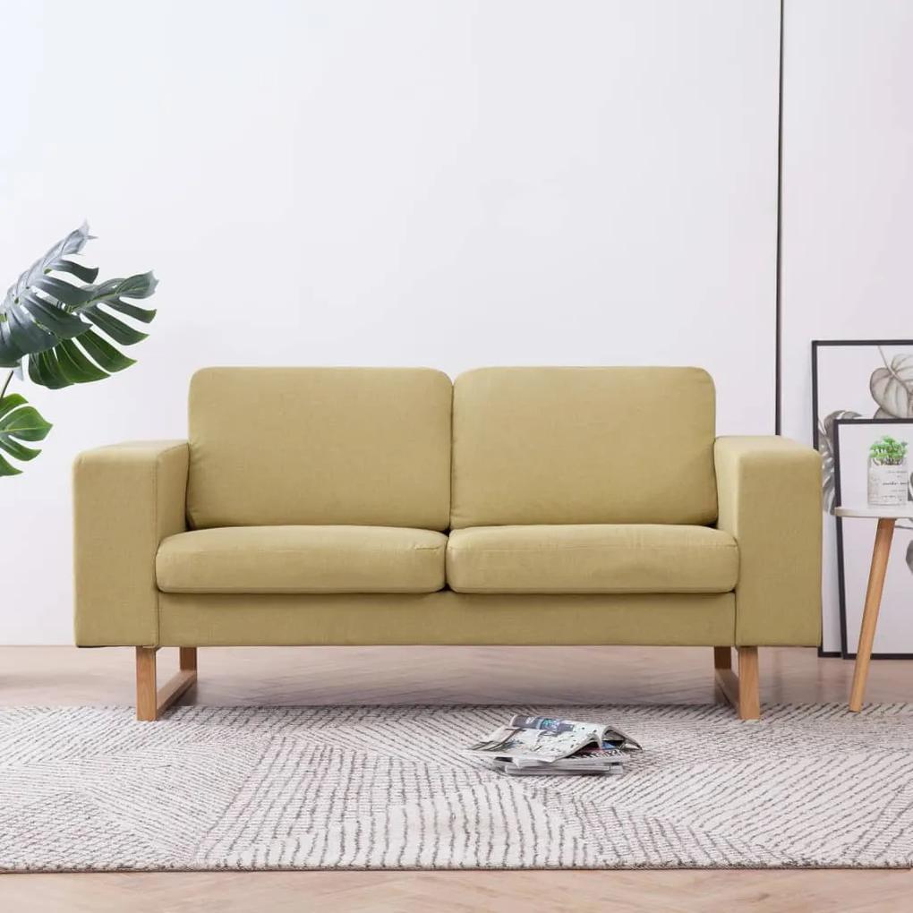 281387 vidaXL Canapea cu 2 locuri, verde, material textil