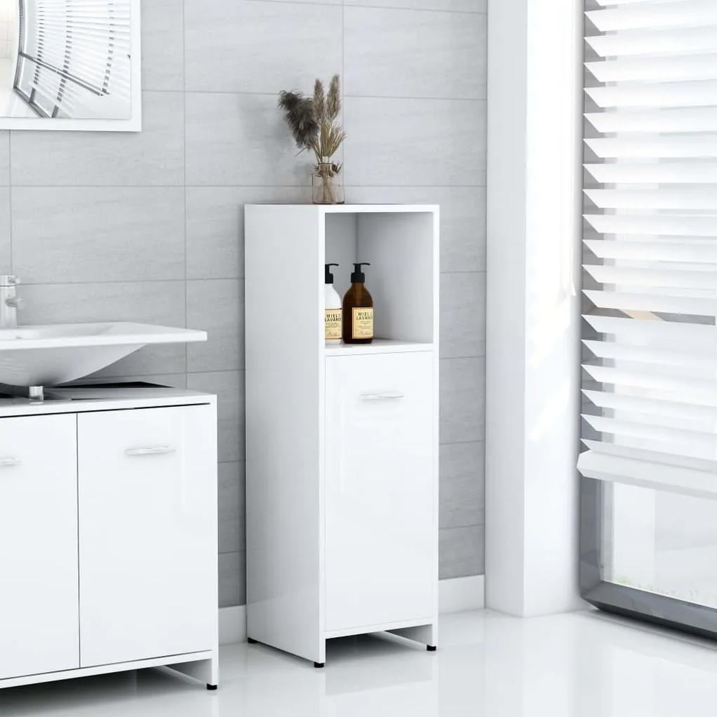802594 vidaXL Dulap de baie, alb extralucios, 30 x 30 x 95 cm, PAL