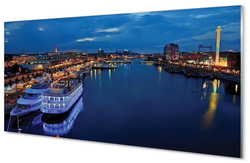 Tablouri pe sticlă Orașul navă mare, la cerul de noapte