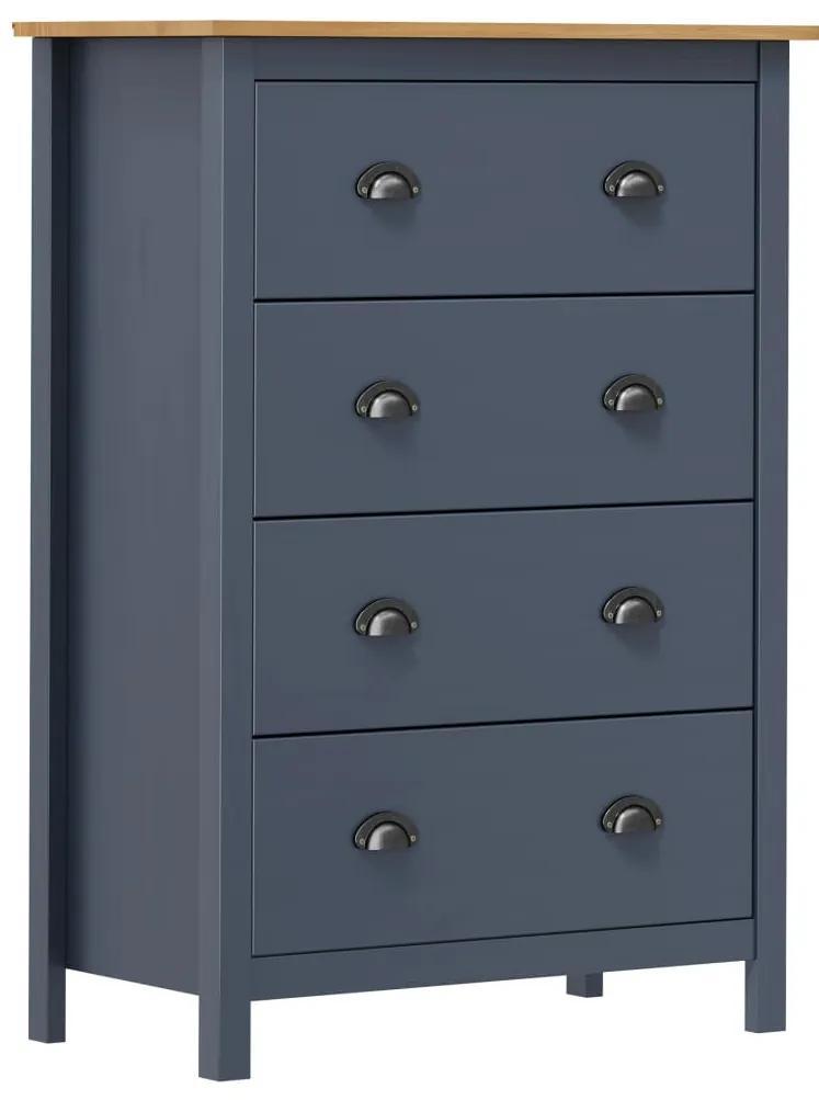 288981 vidaXL Servantă Hill Range 4 sertare gri 79x40x110 cm lemn masiv pin