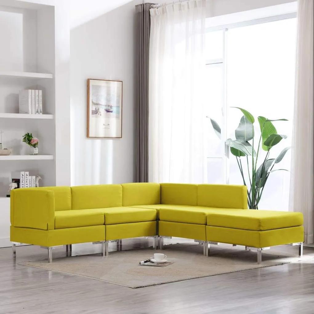 Set de canapele, 5 piese, galben, material textil