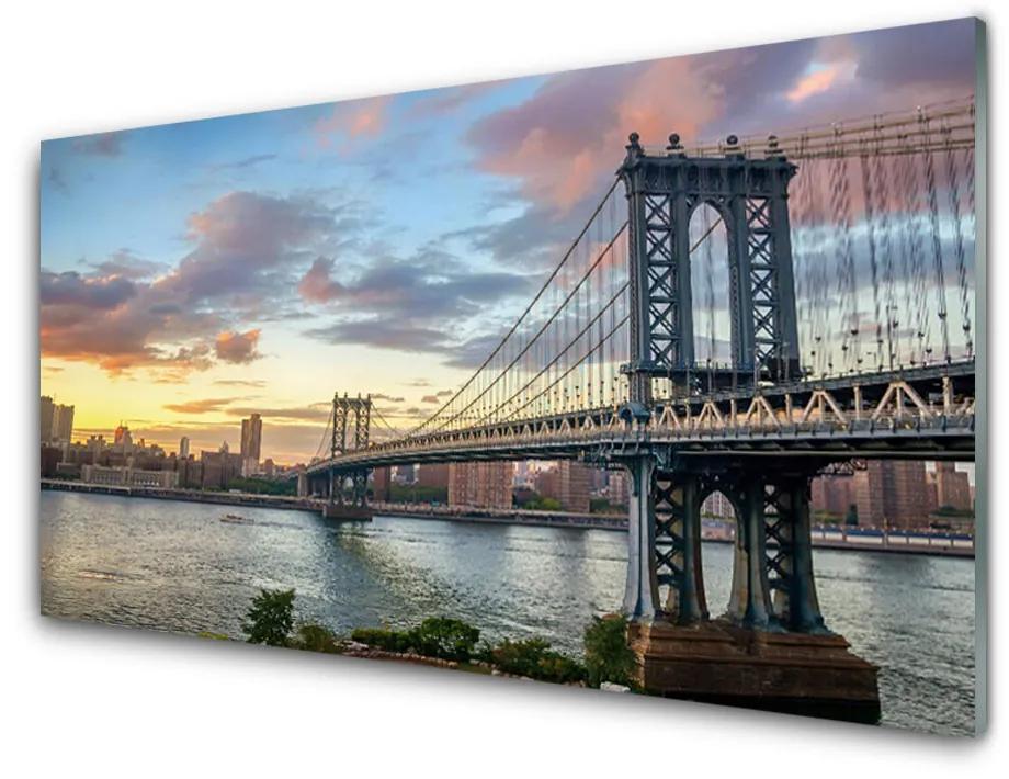 Tablou pe sticla acrilica Bridge City Arhitectura Gri Galben