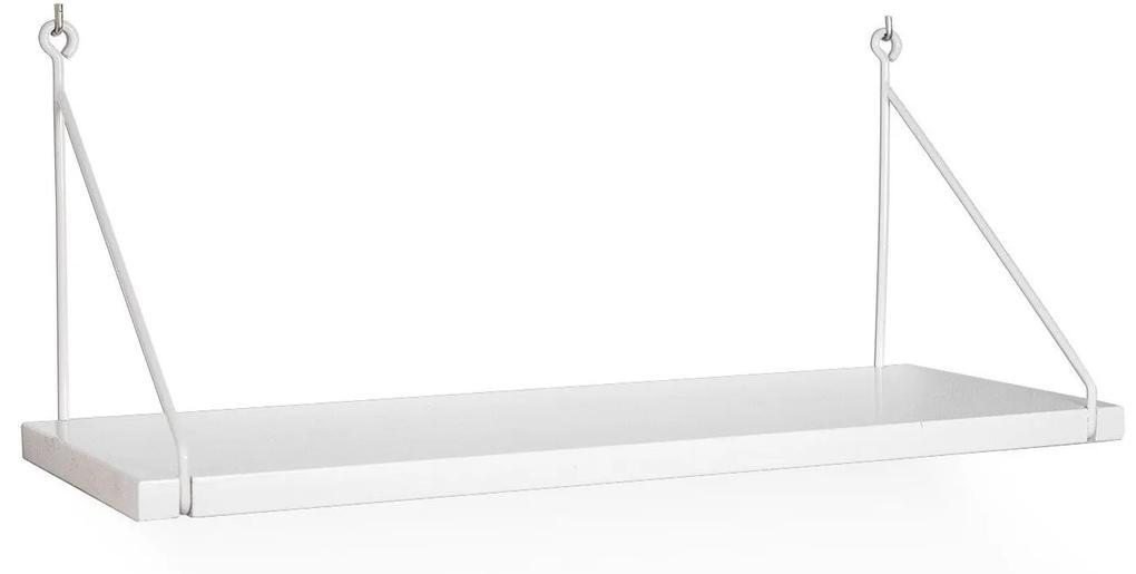 Raft Alb, 85x20x25 cm Lemn/Metal