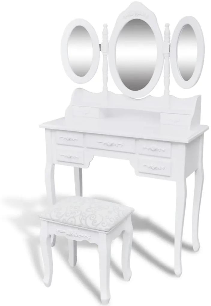 241483 vidaXL Masă de toaletă cu taburet și 3 oglinzi, alb