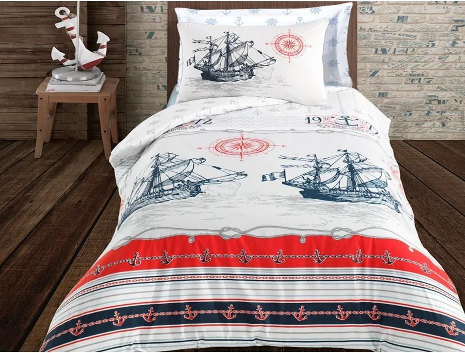 Lenjerie de pat Nautical, din bumbac, 140 x 200 cm, 70 x 90 cm + 50 x 70 cm