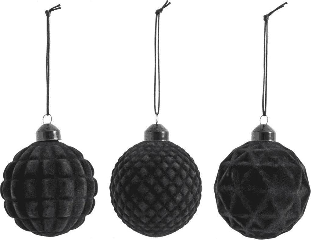 Set de Globuri Glassy (3 buc) - Catifea Negru Diametru( 8 cm)