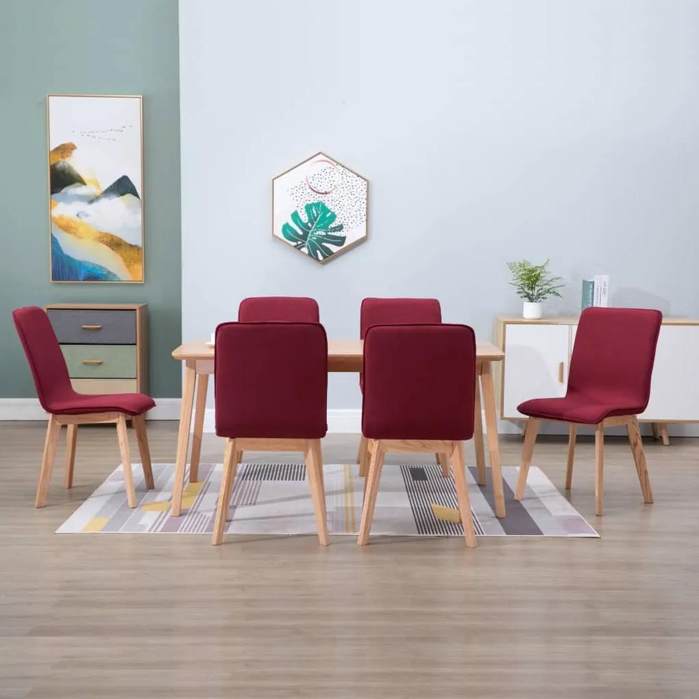276929 vidaXL Scaune de bucătărie, 6 buc, roșu, textil & lemn de stejar masiv